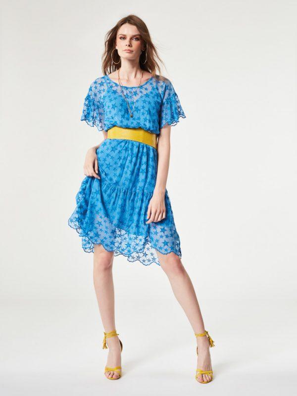 vestido denny rose estrellas azul